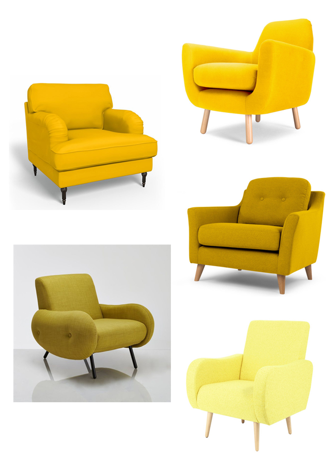 a la recherche du fauteuil jaune parfait. Black Bedroom Furniture Sets. Home Design Ideas
