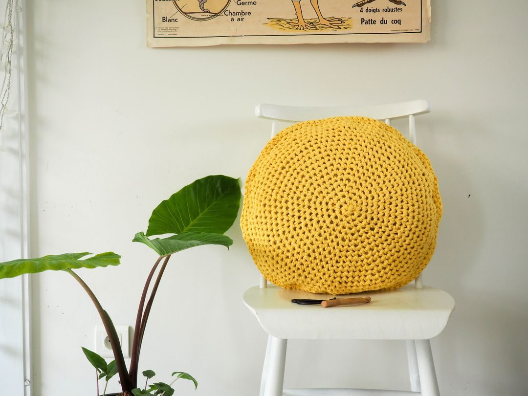 Patron coussin rond au crochet facile DIY simple pattern circle crochet