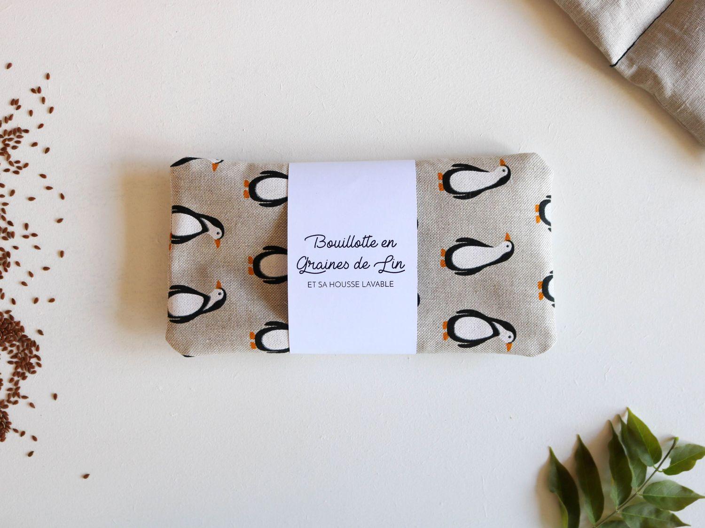 petite bouillotte en graines de lin pingouins bonjour. Black Bedroom Furniture Sets. Home Design Ideas