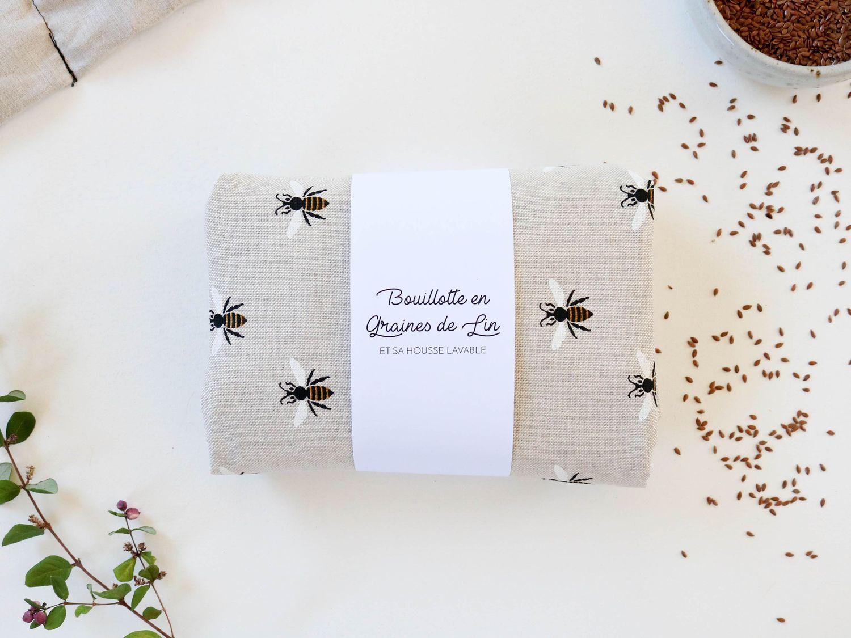 bouillotte en graines de lin abeilles bonjour tangerine. Black Bedroom Furniture Sets. Home Design Ideas